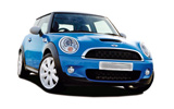 Mini Cooper convertible car rental at Barcelona, Spain